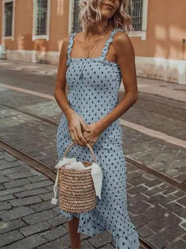 Fashion Wooden ear sling pleated polka dot vacation dress