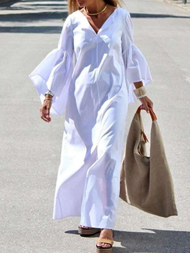 Fashion Casual Pure V neck Mandarin sleeve Maxi Dresses
