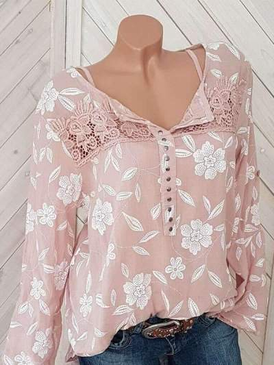 Long-sleeve Printed Patchwork Top Blouses