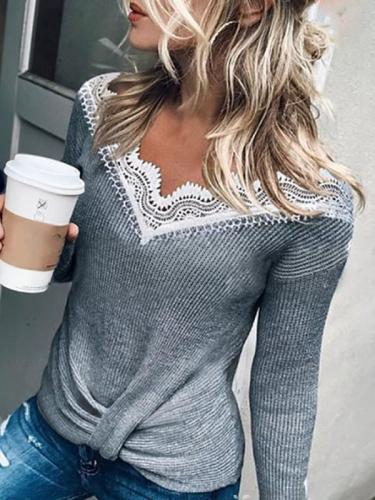 Lace Panel Waffle Knot Long Sleeve Sweater