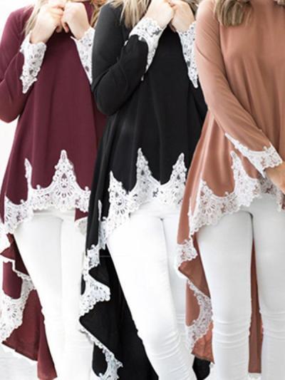 Long Sleeve Lace  Irregular Hem Woman T-shirts
