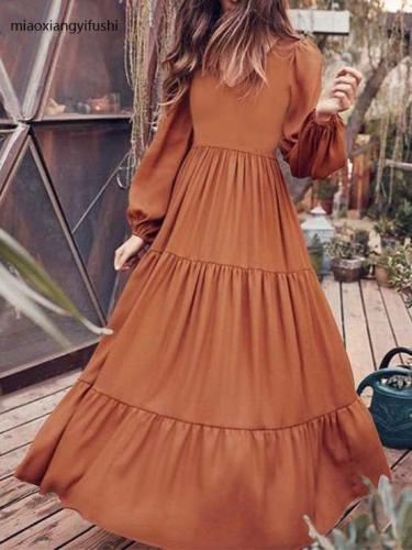 Fashion Casual Pure Gored V neck Long sleeve Maxi Dresses