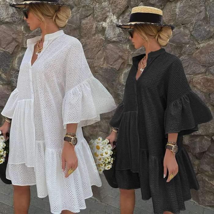Casual Loose Pure Stand collar Half sleeve Gored  Irregular Falbala Shift Dresses