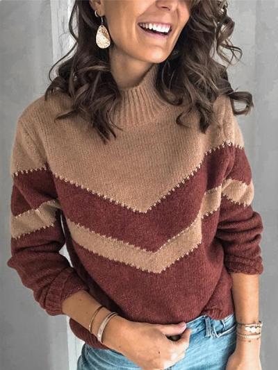 Women fashion high neck knit sweaters