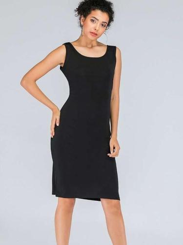 Fashion Pure Sleeveless Round neck Vest Shift Dresses
