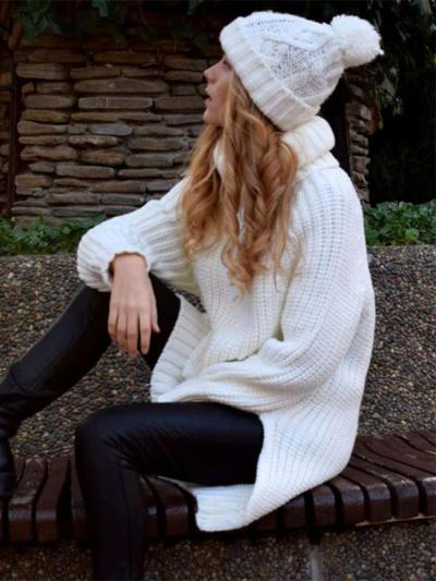 Loose High collar Long sleeve Knit Sweaters