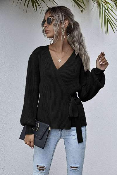 Fashion Casual Pure V neck Long sleeve Lacing Knit Cardigan Sweaters