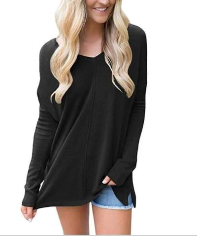 Fashion V neck Long sleeve T-Shirts