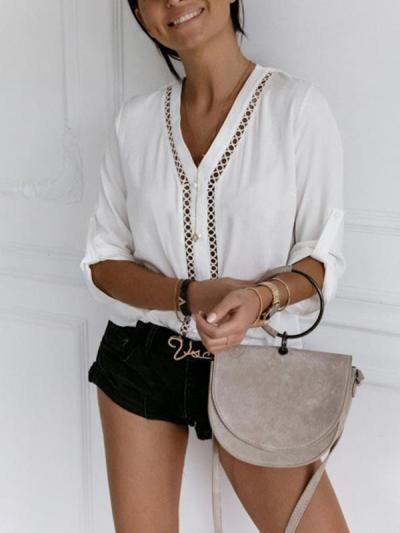 Fashion chic women v neck long sleeve blouses