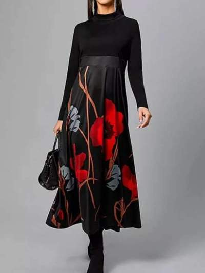 Women long black printed long sleeve maxi dresses