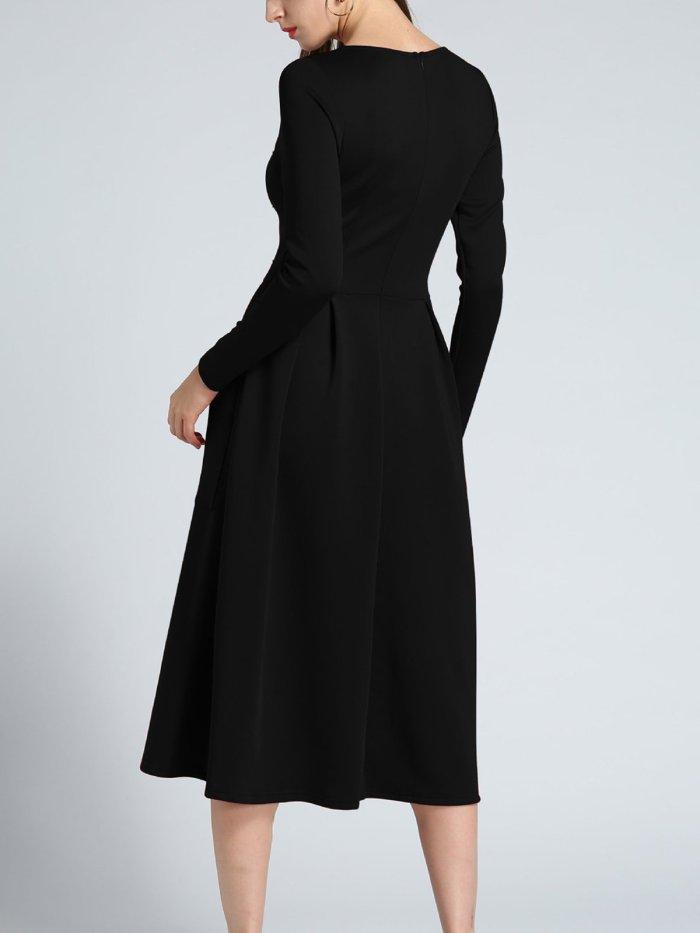 Double Pockets Elegant A Line Dress