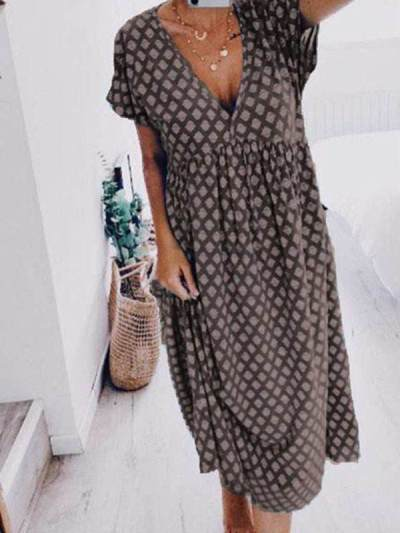 Casual v neck short sleeve printed shift dresses