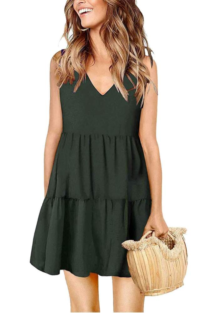 Casual Loose Gored Pure V neck Sleeveless Shift Dresses