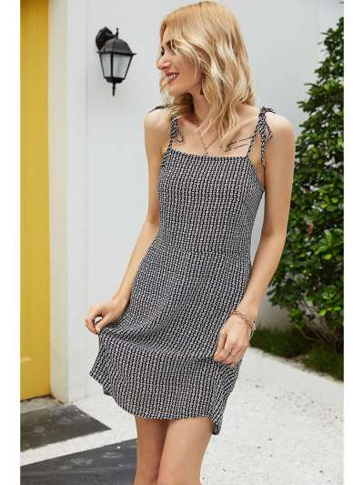 Fashion Print Vest Sleeveless Shift Dresses