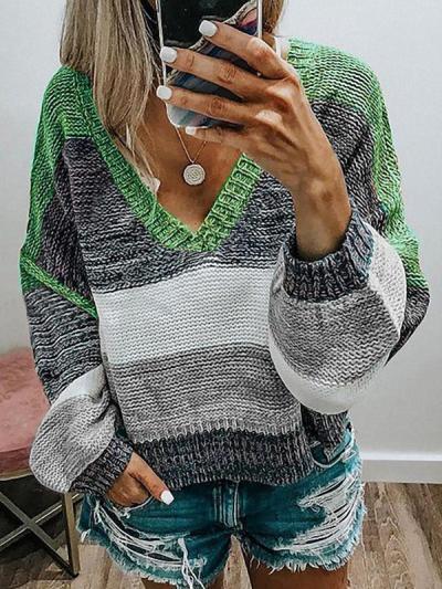 V collar multi color stripe knit women sweaters