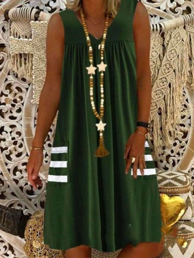 Casual Loose V neck Pocket Sleeveless Shift Dresses