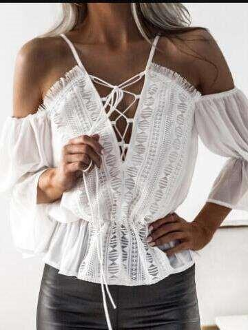 Fashion Pure V neck Off shoulder Blouses