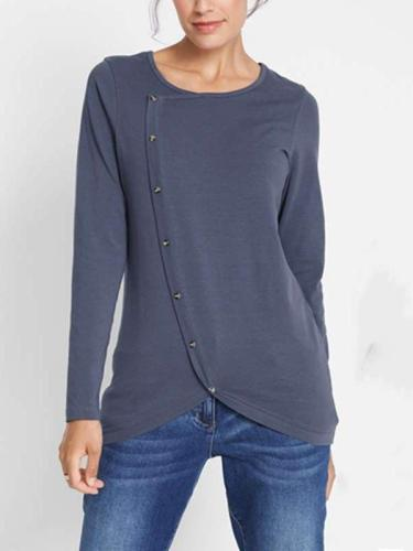 Irregular Round neck Long sleeve Vent Fastener T-Shirts