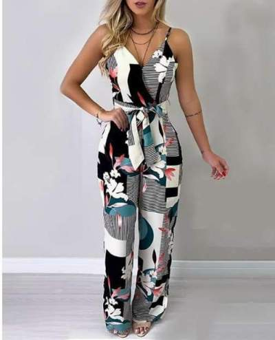 Sexy Backless Print V neck Jumpsuits
