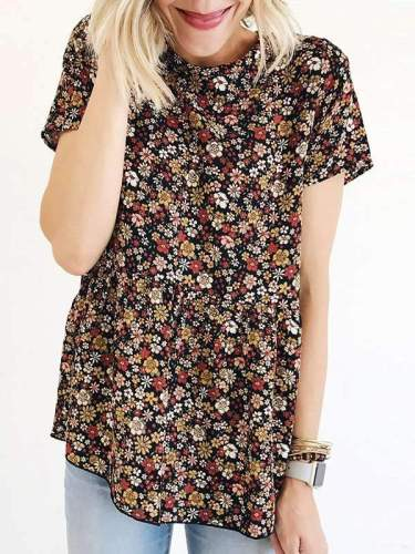 Fashionable printed round neck short sleeves for women t-shirts