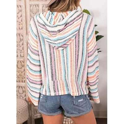 Fashion Casual Stripe Long sleeve Hoodies Sweatshirts