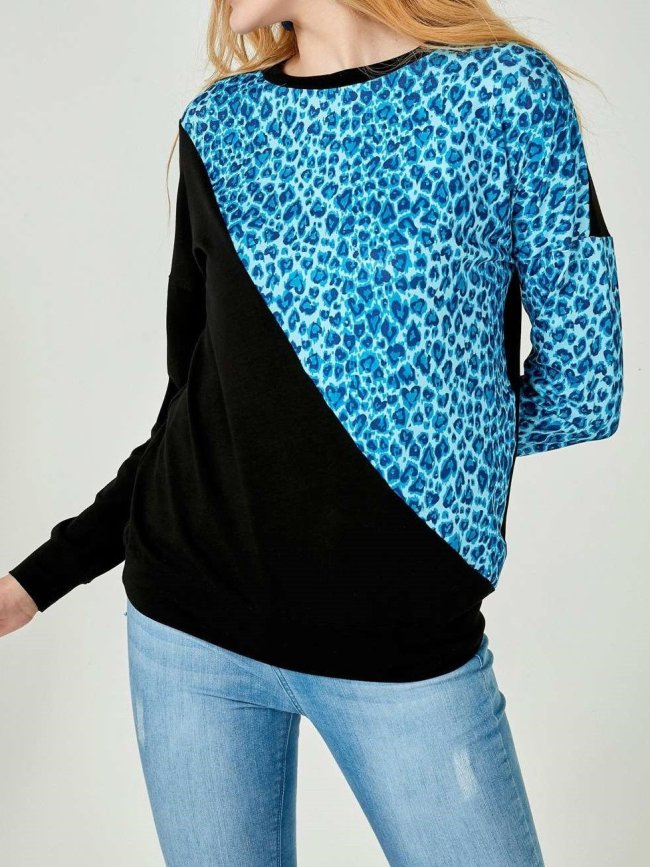 Casual Leopard print Gored Long sleeve Sweatshirts