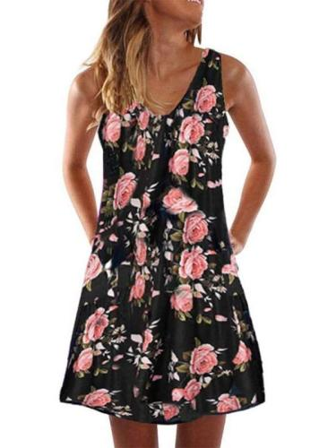 Casual Print Sleeveless V neck Shift Dresses