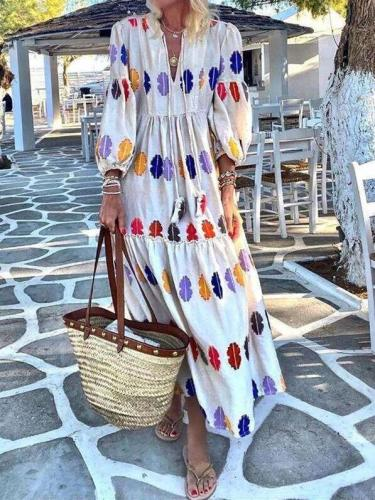 Fashion Casual Print V neck Puff sleeve Maxi Dresses