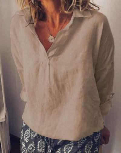 Fashion Pure Lapel Cotton V neck T-Shirts
