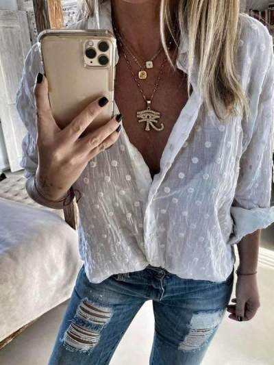 Round point turn down neck  long sleeve blouses tops
