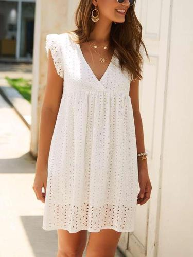 Fashion V neck Loose Lace Shift Dresses