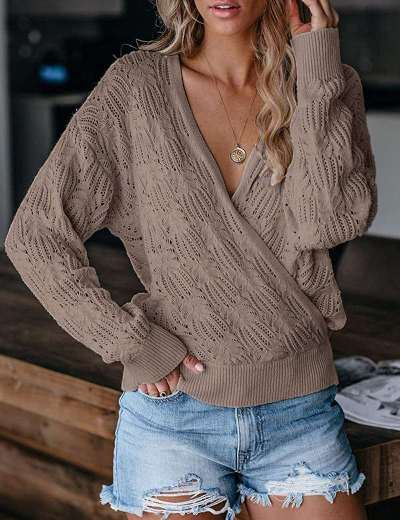 Fashion Pure Hollow out V neck Long sleeve Sweaters