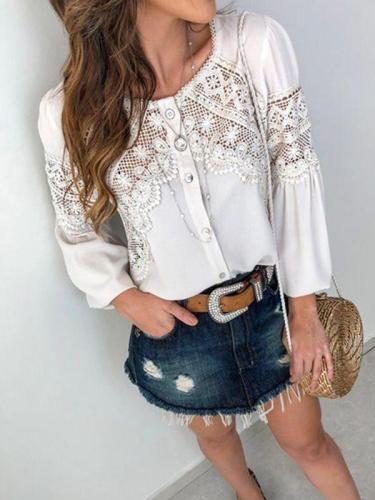 White Lace Sweet Long Sleeve Women Blouses