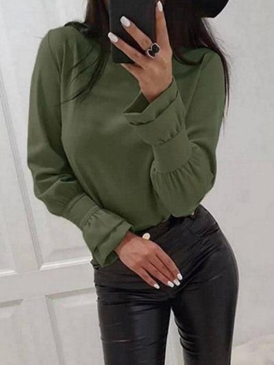 Round neck long sleeve plain stylish Blouses