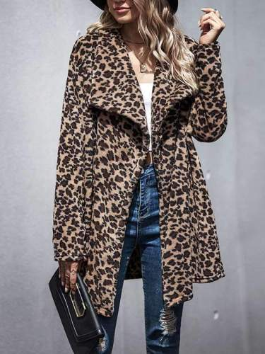 Women's long sleeve leopard printed casual coats
