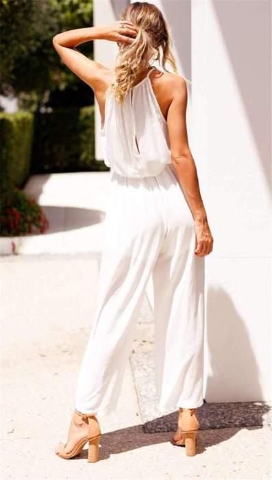 Fashion Sleeveless Halt Lacing Jumpsuits