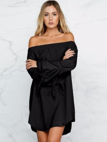 Off Shoulder Long Sleeve Plain Casual Blouses