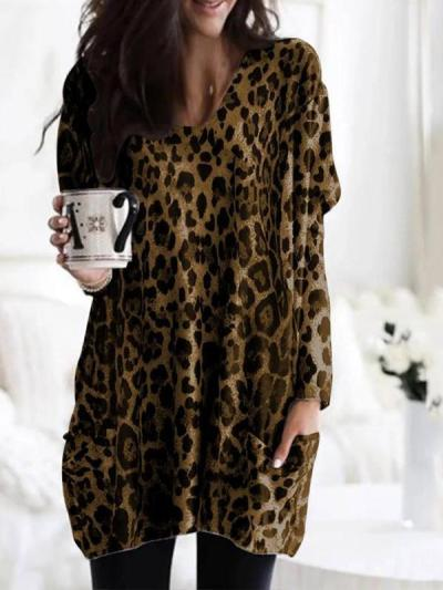 Round neck printed long sleeve blouse shirts