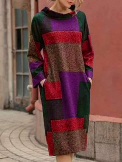 Fashion Loose Stand collar Long sleeve Shift Dresses