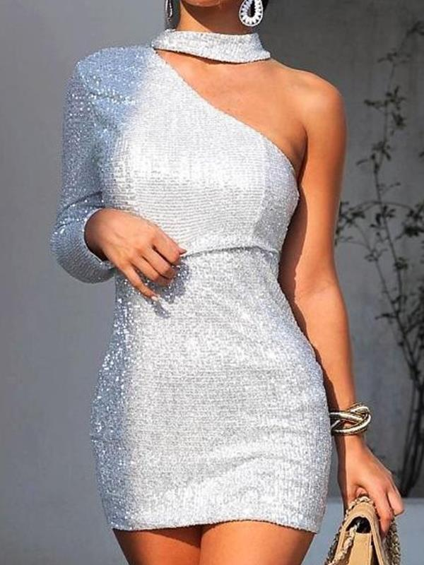 Sexy band neck women one off shoulder bodycon dresses
