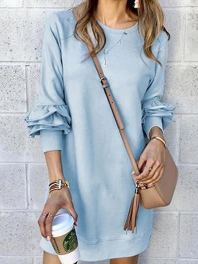 Denim casual women long sleeve round neck shift dresses