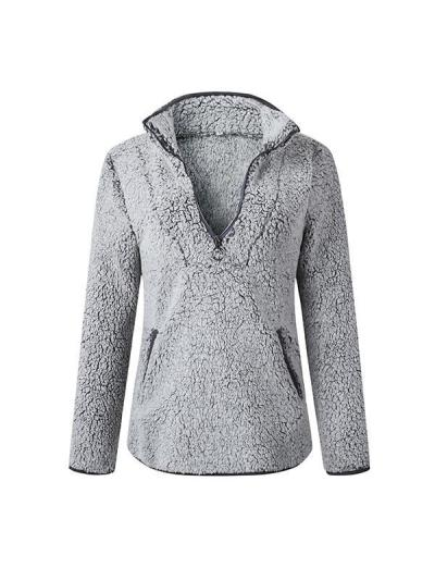 Lapel zippered pocket long-sleeved sweatershirts for lady