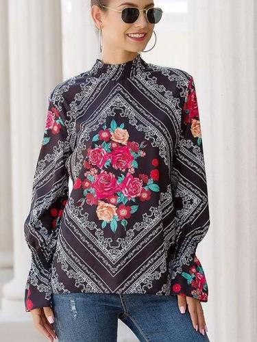 Fashion Print High collar Long sleeve Blouses