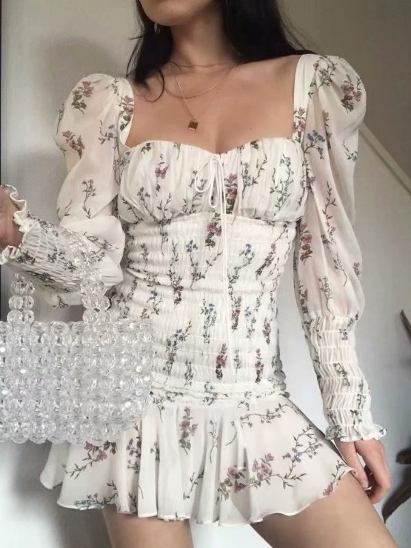 Floral Elastic Drape  Tee Shift Dresses