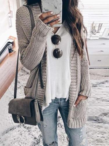 Fashion Knit Long sleeve Cardigan Sweaters