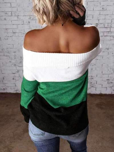 Fashion Gored Stripe Long sleeve One shoulder Sweaters