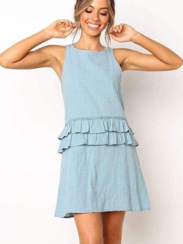 Pure Falbala Sleeveless Shift Dresses