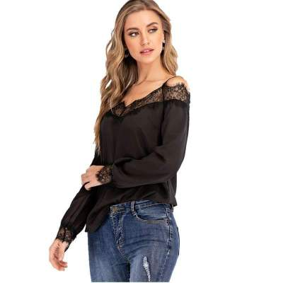 Fashion Sexy Lace Gored Off shoulder Long sleeve Vest T-Shirts