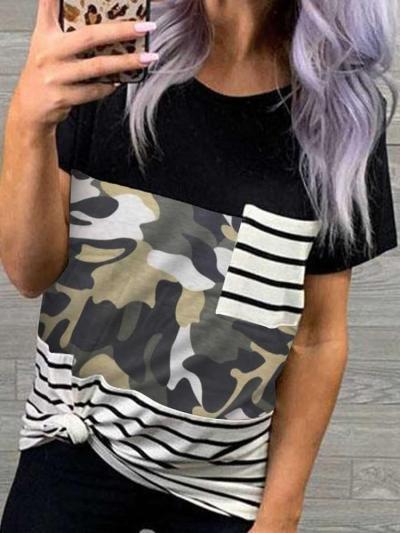 Fashion Print Gored Round neck Short sleeve Pocket T-Shirts