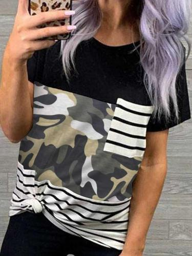 Fashion Print Gored Round neck Short sleeve Pocket T-Shirts